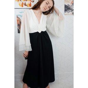 Vintage black/ white full length flare sleeve gown